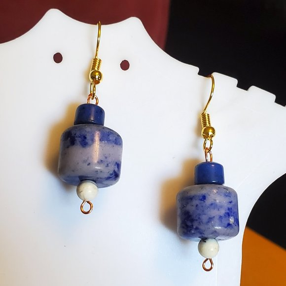 Gold Tone Hook Sodalite Stone Bead Dangle Earrings